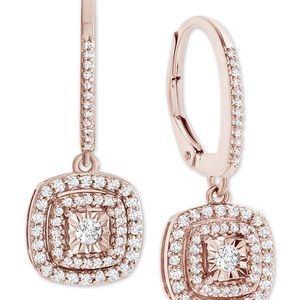 Macy's Diamond Halo Drop Earrings